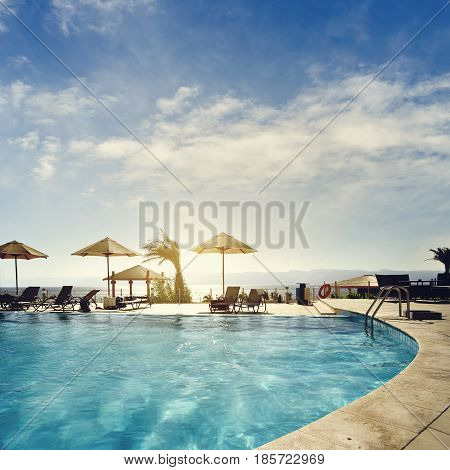 Swimming pool in hotel resort in Aqaba