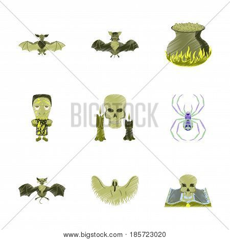 assembly flat shading style icon of book skull ghost bat spider zombie men cauldron