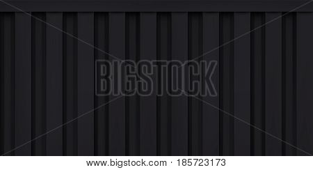 Volume realistic embossing texture, iron fence, black 3d geometric pattern, design vector dark background