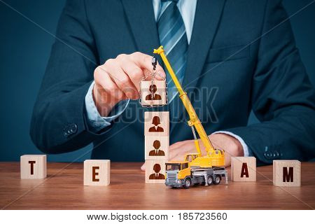Human resources build team hire and recruitment concepts. Recruiter complete team by leader.