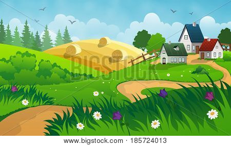 Countryside landscape with hay field and small village.