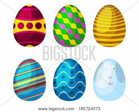 Easter eggs spring colorful isolated celebration decoration holiday icons. Vector illustration easter eggs for Easter holidays design. Happy colorful season pattern traditional paint gift.