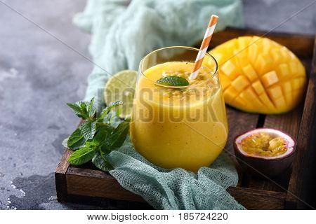 Healthy mango smoothie exotic vitamin drink mango shake