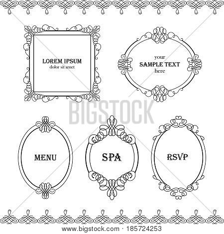 Set collection of boredrs frames with sample text in calligraphic retro style isolated on white background. Can be used for decorate cards invitations menu. Vector illustration