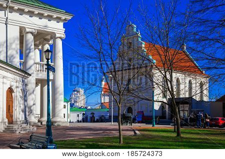 Minsk Belarus the building of the Children's Philharmonic and the Town Hall on Freedom Square. 12/04/2017 editorial