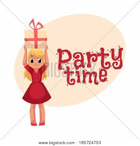 Little blond girl in red dress holding big birthday gift over head, , cartoon style invitation, banner, poster, greeting card design. Party invitation, advertisement, little girl in red dress
