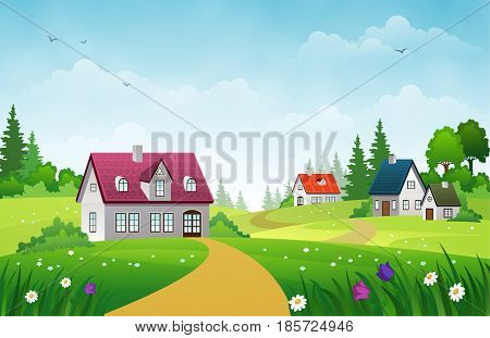 Village landscape with green lawns hills and country houses under blue sky with clouds