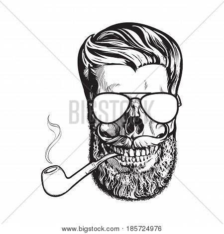 Human skull with hipster beard, wearing aviator sunglasses, smoking pipe, black and white sketch vector illustration isolated on white background. Hand drawing of human skull with beard and whiskers