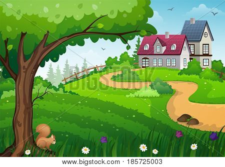 Rural landscape with green meadow tree and buildings