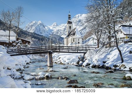 Church Of Ramsau In Winter, Nationalpark Berchtesgadener Land, Bavaria, Germany