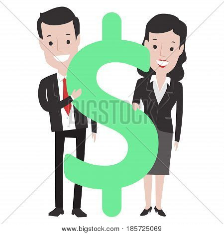 Vector Illustration of Business Man and Woman with Dollar Sign