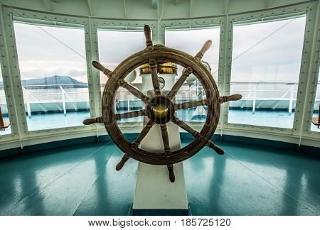 Ship steer in control room Japanese ferry