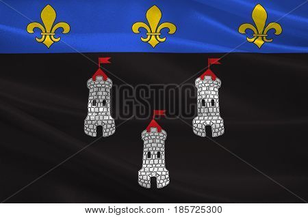Flag of Tours is the administrative centre of the Indre-et-Loire department and the largest city in the Centre-Val de Loire region of France. 3D illustration