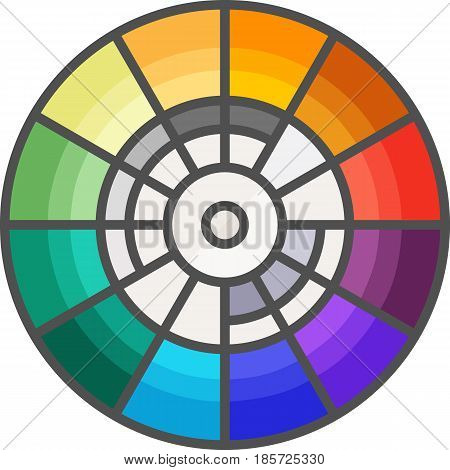 Simple artistic and hobby Vector FlatIcon. Color wheel for picking colors. Flat style icon.