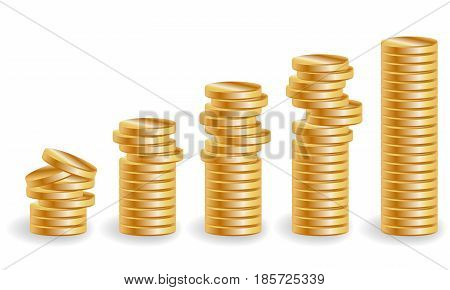 Five stacks of gold coins, an increasing income, Unevenly lying