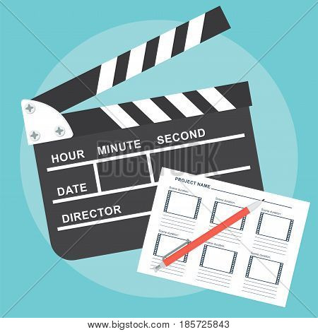 Hands with clapperboard. Flat vector cartoon illustration. Objects isolated on a blue background.