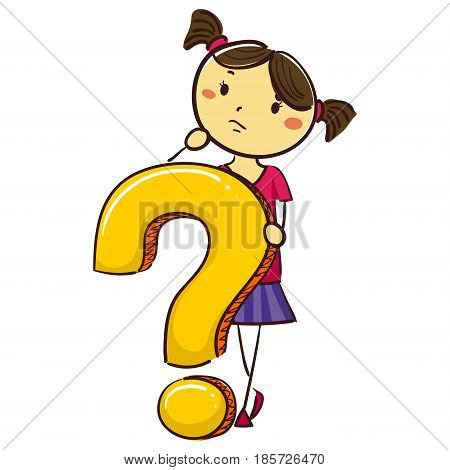 Vector Illustration of Stick Kid Girl with Question Mark Symbol