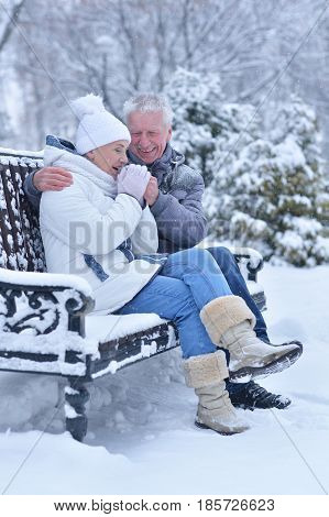 Elderly couple laughing and basking in the winter