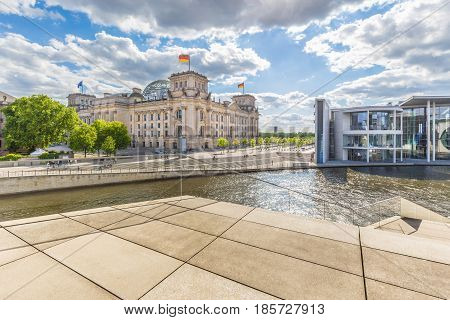 Berlin Government District With Reichstag And Spree River In Summer, Germany