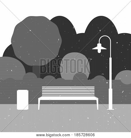 Outdoor furniture silhouette with park landscape. Park illustration with grange texture.