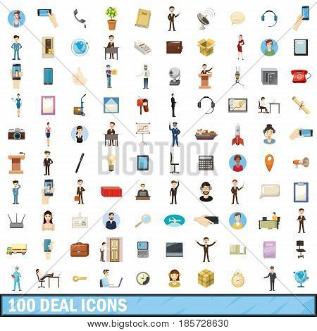 100 deal icons set in cartoon style for any design vector illustration