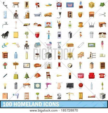 100 homeland icons set in cartoon style for any design vector illustration
