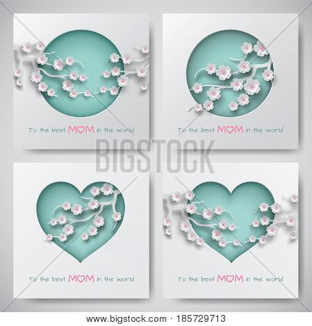 Set of green greeting cards for mother's day. Women and baby silhouettes, congratulation text, cuted circle and heart decorated cherry flowers, paper cut style. Vector illustration, layers isolated