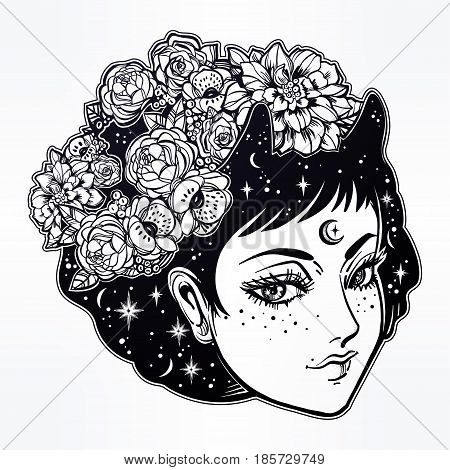 Fairy girl portrait with starry hair, horns and flowers in vinatge manga anime style. For tattoo, wierd, psychedelic art for print, t-shirts and textiles. Vector illustration. Boho, spirituality.