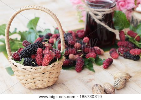 Mulberry juice and fresh mulberry is tasty