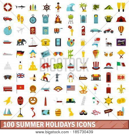 100 summer holidays icons set in flat style for any design vector illustration