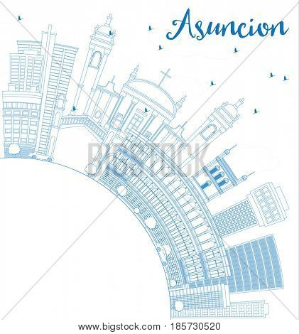 Outline Asuncion Skyline with Blue Buildings and Copy Space. Business Travel and Tourism Concept with Modern Architecture. Image for Presentation Banner Placard and Web Site.