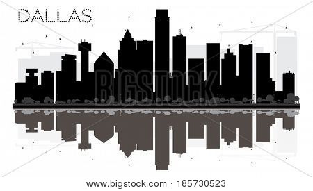 Dallas City skyline black and white silhouette with reflections. Simple flat concept for tourism presentation, banner, placard or web site. Cityscape with landmarks.