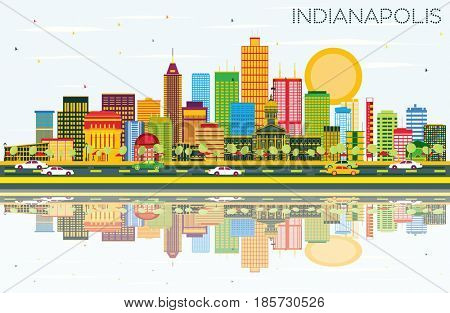Indianapolis Skyline with Color Buildings, Blue Sky and Reflections. Business Travel and Tourism Concept with Modern Buildings. Image for Presentation Banner Placard and Web Site.