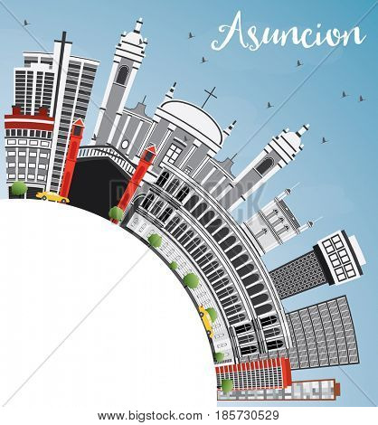 Asuncion Skyline with Gray Buildings, Blue Sky and Copy Space. Business Travel and Tourism Concept with Modern Architecture. Image for Presentation Banner Placard and Web Site.