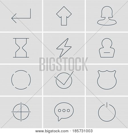 Vector Illustration Of 12 UI Icons. Editable Pack Of Switch Off, Remove User, Message And Other Elements.