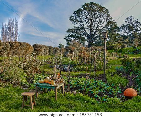 Matamata New Zealand December 22, 2016 Park in the village Hobbit New Zealand's famous attractions It is the location for filming The lord of the Ring and Hobbiton.