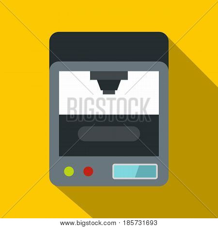 3d printer icon. Flat illustration of 3d printer vector icon for web on yellow background