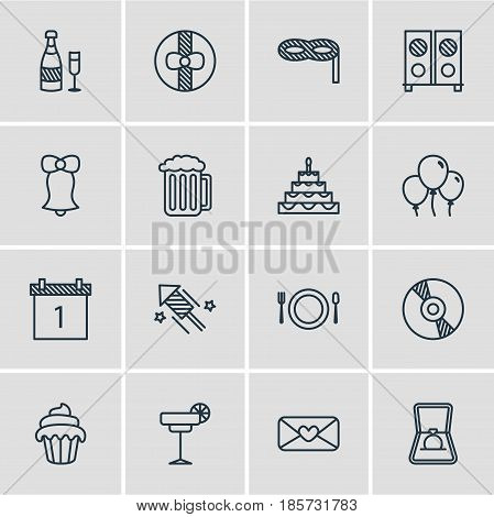 Vector Illustration Of 16 Feast Icons. Editable Pack Of Speaker, Firecracker, Gift And Other Elements.