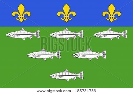 Flag of Loches is a commune in the Indre-et-Loire department in central France. Vrctor illustration