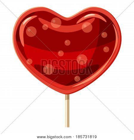 Red heart shaped lollipop icon. Cartoon illustration of red heart shaped lollipop vector icon for web
