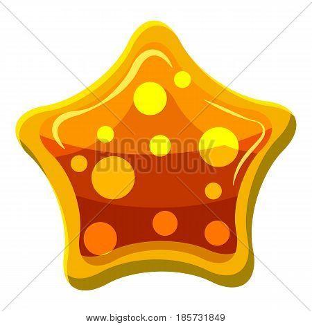 Orange star shaped candy icon. Cartoon illustration of orange star shaped candy vector icon for web