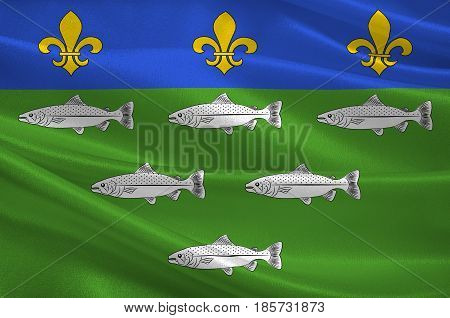 Flag of Loches is a commune in the Indre-et-Loire department in central France. 3D illustration