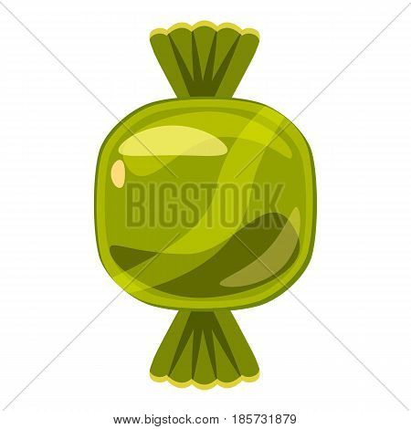 Sweet candy in green wrap icon. Cartoon illustration of sweet candy in green wrap vector icon for web