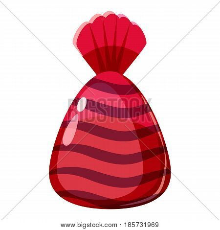 Chocolate candy in red wrap con. Cartoon illustration of chocolate candy in red wrap vector icon for web