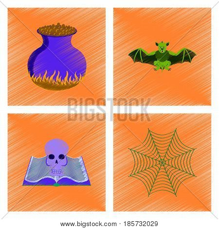 assembly flat shading style icon of ghost spider book skull web