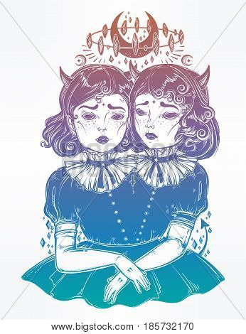 Gothic witchcraft siamese twins. Female demon portriats. Beautiful victorian monster girls in vintage style. For t-shirt design or post card. Fashion vector illustration. Weird gothic art. Halloween.