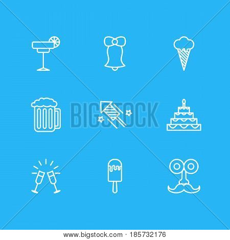 Vector Illustration Of 9 Banquet Icons. Editable Pack Of Man Style, Goblet, Jingle And Other Elements.