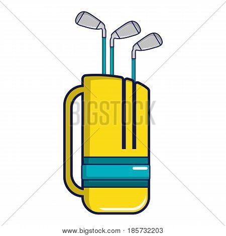 Yellow golf bag full of golf clubs icon. Cartoon illustration of yellow golf bag full of golf clubs vector icon for web