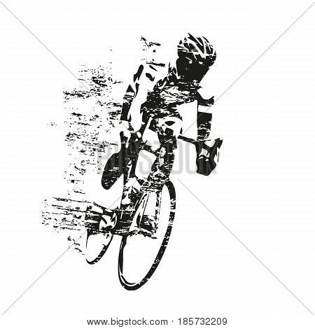 Cycling theme scratched vector silhouette of road cyclist