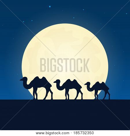 Egypt, Africa Silhouette Of Attraction. Travel Banner With Moon On The Night Background. Trip To Cou